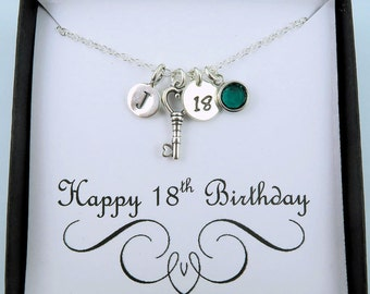 Personalized 18th Birthday Necklace With Message Card, 18th Birthday Gift, 18 Gift, Key Necklace, Sterling Silver, Initial And Birthstone