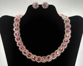 Vintage Choker and Clip Earrings Set, Pink Aurora Borealis and Clear Faux Crystal Beads, Demi Parure, Mid Century, Circa 1950s