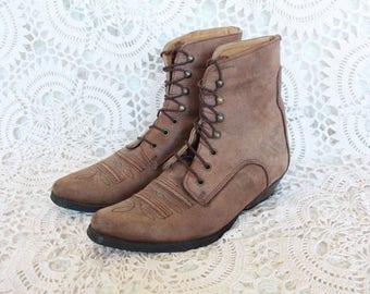 Vintage brown hippy short cowboy lace up boho leather ankle boots uk size 4 Eur 37 us 6