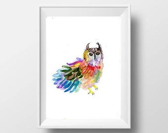 Rainbow barn owl Abstract watercolor painting bright colorful print bird nursery wall art owl poster owl abstract decor