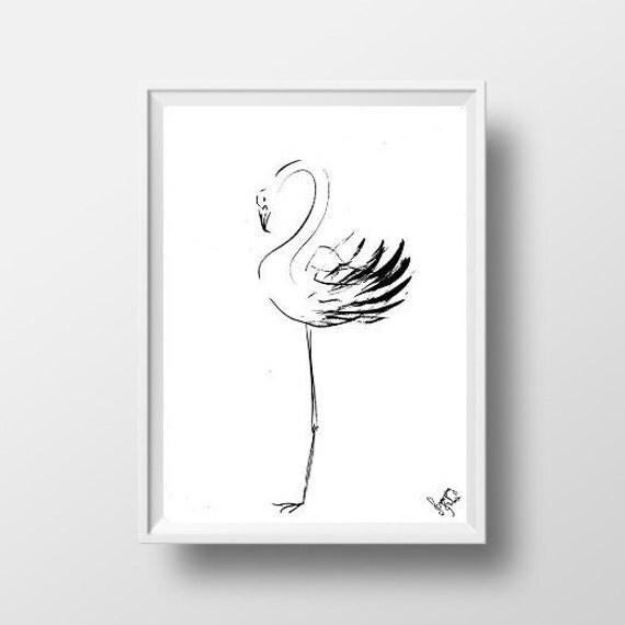 Sticker flamant rose minimaliste zen sumi e encre dessin for Dessin minimaliste