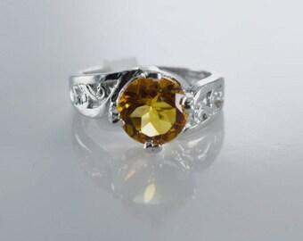 Citrine Sterling Silver Ring, Rhodium Plated, Natural Gemstone, Round Cut Citrine, November Birthstone