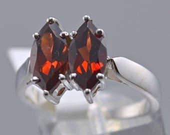 Garnet Sterling Silver Ring, Rhodium Plated, Natural Gemstone, January Birthstone