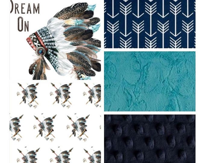 Tribal Baby Bedding with Headdress and arrows- navy/teal baby boy crib bedding