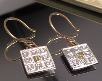 Solid Gold and Silver Earrings, Silver and Gold Earrings, Ancient Greek Earrings, Greek Earrings, Gold Greek Earrings, Silver Earrings