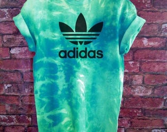 Unisex Authentic Adidas Originals Tie Dye Teal T-shirt XS-XXL