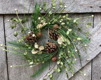 Candle Ring, Christmas Wreath, Christmas Candle Ring, Pine Candle Ring, Burlap Candle Ring, Christmas Decor, Rustic Decor, Free Shipping