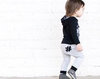 Grey Hashtag Harems or Leggings - Baby Pants - Toddler Pants - Baby Leggings - Baby Joggers - Baby Clothing - Toddler Leggings