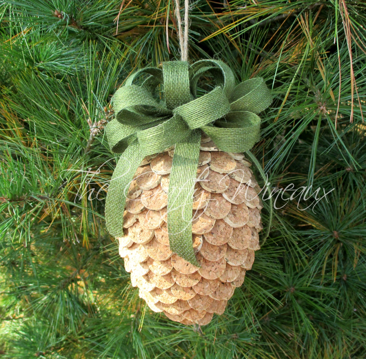 Large wine cork pine cone christmas ornament in sage green for Large christmas pine cones