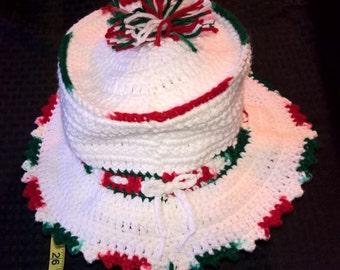 Handmade crochet winter color peppermint hat