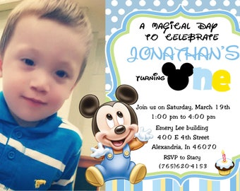 Baby Mickey Mouse 1st Birthday Photo Invitations  and more... DIGITAL FILE (S) UPRINT