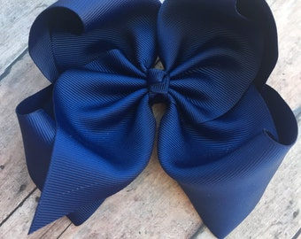 Large Navy Bow - Big Hair Bow - 6in Hair Bow - Basic Hair Bow - Boutique Hair Bow - Solid Color Bow - Simple Hair Bow - Navy blue - navy