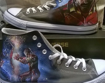 Iron man , Captain America , Marvel comics , superhero , hand painted converse , superhero shoes , marvel, marvel shoes
