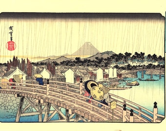 "Japanese Ukiyoe, Woodblock print, antique, Hiroshige, ""Shower on Nihonbashi Bridge"""