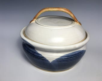 Pottery Casserole Dish With Lid, 6 Cups, Indigo Blue, Satin White, and Cinnamon