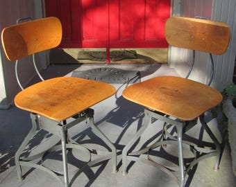 Pair of Vintage Industrial Desk Chairs By Toledo Mfg