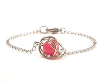 Captured red jade stainless steel bracelet, red jade fashion bracelet