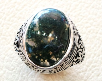 moss agate green natural aqeeq stone semi precious men ring sterling silver 925 all sizes antique ottoman middle east style jewelry
