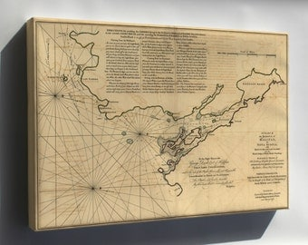 Canvas 24x36; Map Of Halifax Harbor Nova Scotia Canada 1768