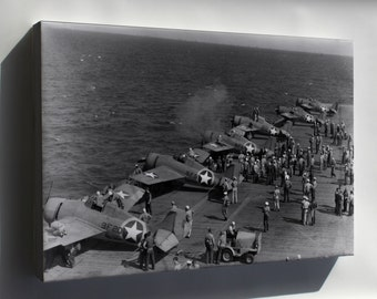 Canvas 24x36; F4F-4 Wildcat Vf-9 And Vf-41, Uss Ranger (Cv-4) 1942