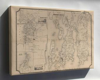 Canvas 24x36; Map Of Newport County, Rhode Island 1850