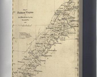 Canvas 24x36; Map Of Piedmont Virginia 1873