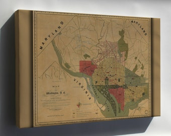 Canvas 16x24; Map Of Washington, D.C., And Environs 1887