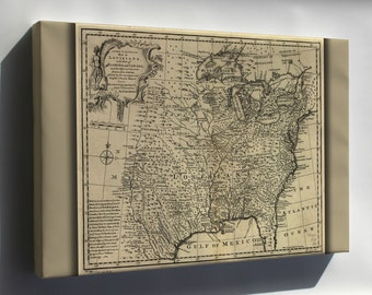 Canvas 16x24; Map Of Western Pre United States Of America 1752