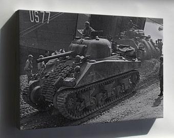 Canvas 16x24; Sherman Tanks Land At Anzio