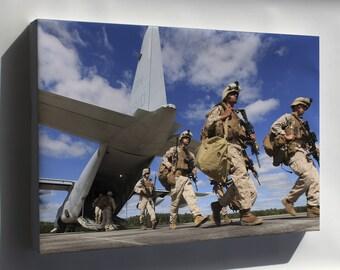 Canvas 16x24; Marines Deplane A Kc-130 Hercules At Fort Pickett, Virginia