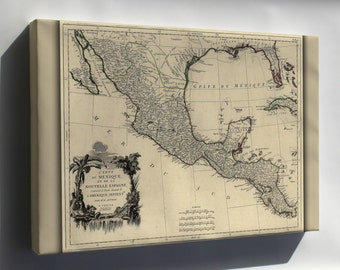 Canvas 16x24; Map Of New Spain Mexico 1776