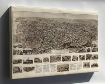 Canvas 16x24; Aero View Map Of Freeport, Long Island, New York 1909