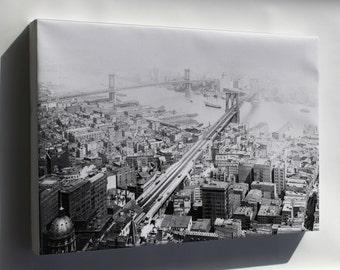 Canvas 16x24; Brooklyn And Manhattan Bridges, New York City, In 1916