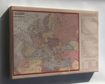 Canvas 16x24; Wwi Map Of Europe & Force Size 1917