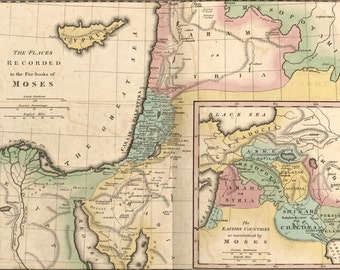 16x24 Poster; Map Of Israel & Places From Books Of Moses 1826