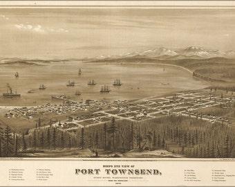 16x24 Poster; Birdseye Map Port Townsend Washington State 1878