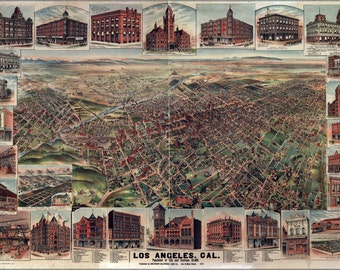 16x24 Poster; Map Of Los Angeles, California 1891