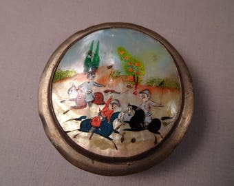 Plated Trinket Box with Painted Shell Design on Top