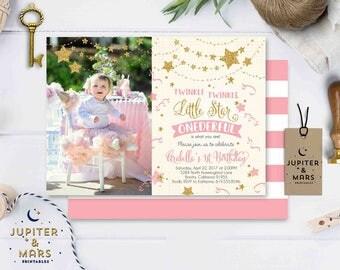 Twinkle Twinkle Little Star Birthday Invitation, Pink, Gold Twinkle Little Star Invitation, Twinkle First Birthday Invitation DIGITAL FILE