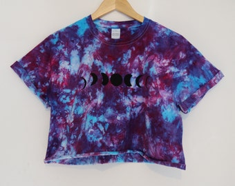 Moon Phase Tie Dyed Crop T-shirts / Bright Tye Dye Crescent Moon Tee