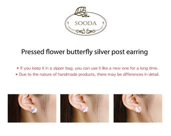 Pressed flower butterfly silver post earring [J.R SooDA]