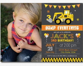 Construction Birthday Invitation, Construction Invite, Printable, photo invitation