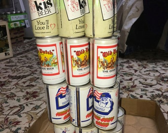 Breweriana Vintage Beer Cans Pull Tab Collectible Six Packs