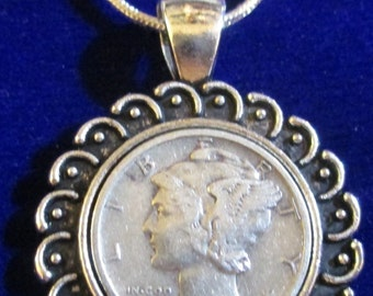 Stunningly  beautiful Sterling silver necklace with Vintage Silver Lace-Pendant-Mercury-Dime + GIFT BAG