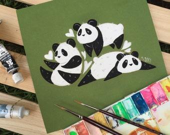 Animal Love - Pandas - Giclee print - 21x21cm