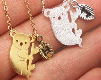 Koala Bear Necklace, Panda Bear Necklace, Baby Bear Necklace,Bear Cub Necklace,Bear Jewelry,Personalized Initial Necklace,Grizzly Bear NB739