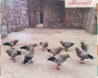 OOAK Realistic Miniature 1:12th Scale Dollhouse Pigeons *Two pieces*