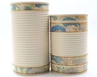 Recycled Tin Cans in Light Beige - Makeup Brush Holder/ Bathroom Storage/ Pen Holder/ Desk Organizer