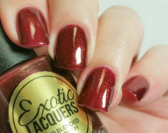 Unicorn Blood - Dark Red Nail Polish with a gold shimmer