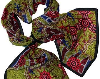 Aboriginal Designed Scarf - Authentic design direct from Artist
